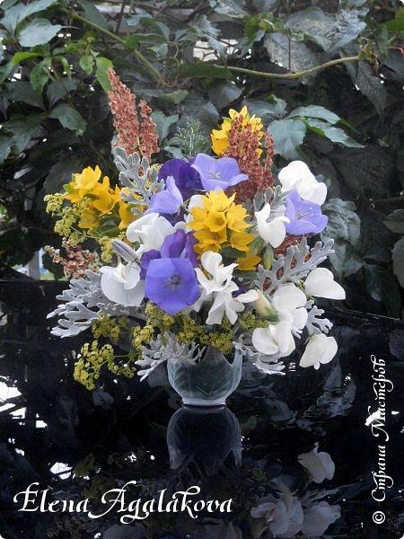 Добрый день! Сегодня я к вам снова с композициями из цветов. На этот раз много простых, полевых цветов... Я их обожаю за нежность и очарование! Прошлым летом я решила осуществить еще одну свою мечту - научится цветочному дизайну. Очень люблю цветы, травки-муравки, деревья и вообще все растения. Очень увлекательно работать с цветами! Я взяла небольшой курс по цветочному дизайну. Дома делаю аранжировки из того что под рукой, беру цветы которые найду, даже полевые и из своего садика. Люблю использовать разные веточки, травинки... Делюсь красотой!   фото 2
