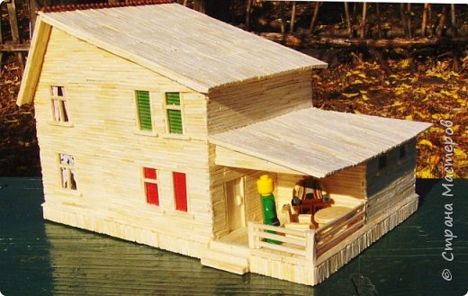 Загородный дом, 18х28х18 см, 145 коробков спичек. фото 9