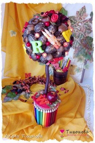 Осенний топиарий с каштанами, желудями и орехами - мастер-класс от Алены Тихоновой фото 2