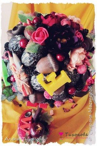 Осенний топиарий с каштанами, желудями и орехами - мастер-класс от Алены Тихоновой фото 3