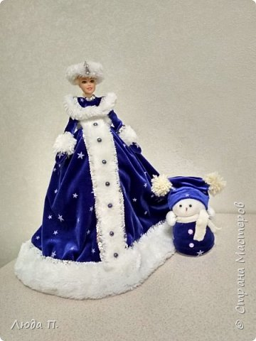 Кукла шкатулка Снегурочка и снеговик из носка фото 5
