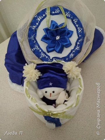 Кукла шкатулка Снегурочка и снеговик из носка фото 8