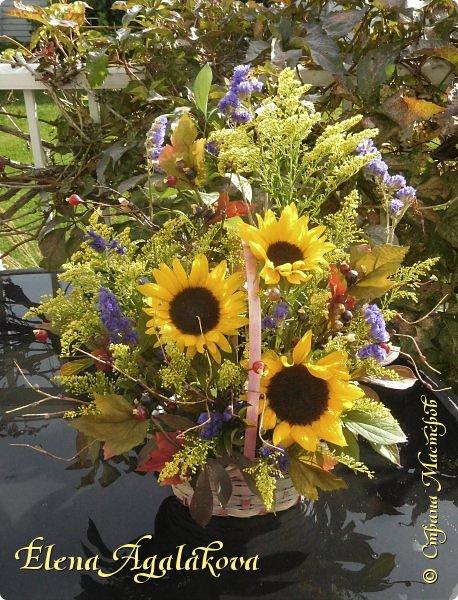 Добрый день! Сегодня я к вам снова с композициями из цветов. На этот раз много осенних композиций желто-оранжево-красных...  Вот уже больше года я занимаюсь цветочным дизайном. Очень люблю цветы, травки-муравки, деревья и вообще все растения. Очень увлекательно работать с цветами! Я взяла небольшой курс по цветочному дизайну. Дома делаю аранжировки из того что под рукой, беру цветы которые найду, даже полевые и из своего садика. Люблю использовать разные веточки, травинки... Некоторые оранжировки из цветочного магазина где я работаю. Делюсь красотой! фото 8