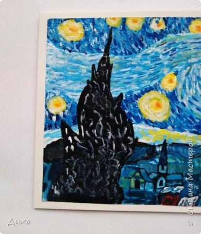 """Здравствуйте!  Ещё один пост на сегодня :-), это открытка """"Звездная ночь"""" Ван Гога.  Эту открытку нарисовала для Маши, хвастик здесь https://stranamasterov.ru/node/1181860   А тут можно посмотреть самую первую мою попытку  https://stranamasterov.ru/node/1180737   фото 2"""