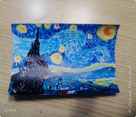 """Здравствуйте!  Ещё один пост на сегодня :-), это открытка """"Звездная ночь"""" Ван Гога.  Эту открытку нарисовала для Маши, хвастик здесь https://stranamasterov.ru/node/1181860   А тут можно посмотреть самую первую мою попытку  https://stranamasterov.ru/node/1180737   фото 9"""