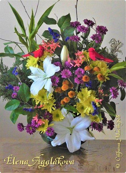 Добрый день! Сегодня я к вам снова с композициями из цветов.  Вот уже больше года я занимаюсь цветочным дизайном. Очень люблю цветы, травки-муравки, деревья и вообще все растения. Очень увлекательно работать с цветами! Я взяла небольшой курс по цветочному дизайну. Дома делаю аранжировки из того что под рукой, беру цветы которые найду, даже полевые и из своего садика. Сейчас у нас уже холодно, но как же радуют цветы дома! Люблю использовать разные веточки, травинки... Некоторые оранжировки из цветочного магазина где я работаю. Делюсь красотой! фото 7