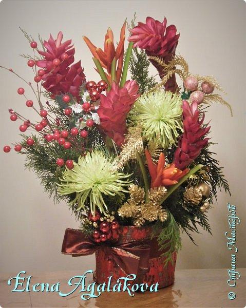 Добрый день! С наступающим Новым годом и Рождеством! Сегодня я к вам снова с композициями из живых цветов, на этот раз новогодними. Желаю в этот зимний день Тепла и Света, без затей... Пусть жизнь наполненной рекой течет счастливей и мудрей! Благополучия, Любви и новых творческих идей! фото 3