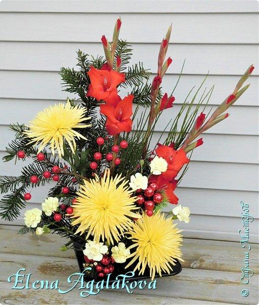 Добрый день! С наступающим Новым годом и Рождеством! Сегодня я к вам снова с композициями из живых цветов, на этот раз новогодними. Желаю в этот зимний день Тепла и Света, без затей... Пусть жизнь наполненной рекой течет счастливей и мудрей! Благополучия, Любви и новых творческих идей! фото 2