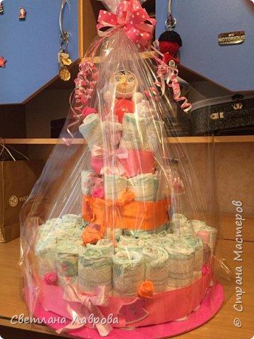 Доброе время суток, Страна мастеров!!! В семье племянника родился человечек  и вот от нас с мужем такой подарок!!! Так было радостно творить маленькой принцессе такой тортик!!!  фото 2