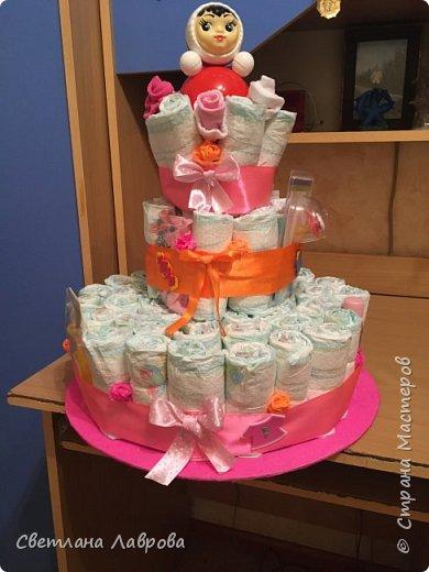 Доброе время суток, Страна мастеров!!! В семье племянника родился человечек  и вот от нас с мужем такой подарок!!! Так было радостно творить маленькой принцессе такой тортик!!!