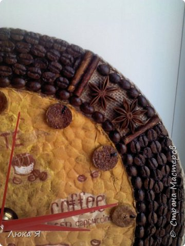 Кофейные часики, Внутри делала декупаж на яичной скорлупе, Циферблат из винной пробки. фото 4