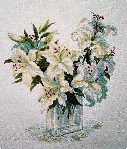 Это мой скромный букет лилий, размер около 45×45