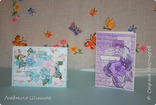 Здравствуйте! Мои открыточки. Некоторые открытки повторяла с курсов Анны Валерьевны Демаковой. Еще вдохновлялась работами Ирины( Голубка). фото 1