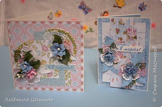 Здравствуйте! Мои открыточки. Некоторые открытки повторяла с курсов Анны Валерьевны Демаковой. Еще вдохновлялась работами Ирины( Голубка). фото 4