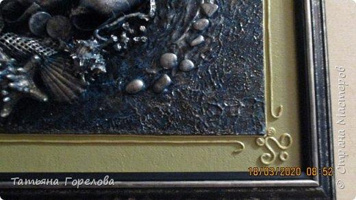 """Это вторая работа по заказу на тему """"Море"""" в технике """"Терра"""". Использовала  один из вариантов оформления работы, с паспарту. На мой взгляд, дала большие припуски. Пришлось выкручиваться: делать дополнительный декор с использованием шнура.. фото 3"""