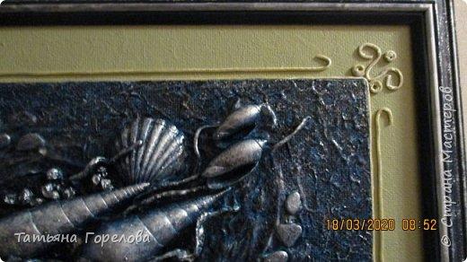 """Это вторая работа по заказу на тему """"Море"""" в технике """"Терра"""". Использовала  один из вариантов оформления работы, с паспарту. На мой взгляд, дала большие припуски. Пришлось выкручиваться: делать дополнительный декор с использованием шнура.. фото 4"""