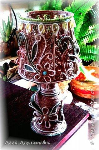 Пока есть время я сделала вот такую декоративную лампу. Если поставить в абажур светодиодную свечу - будет ночник, светильник фото 5