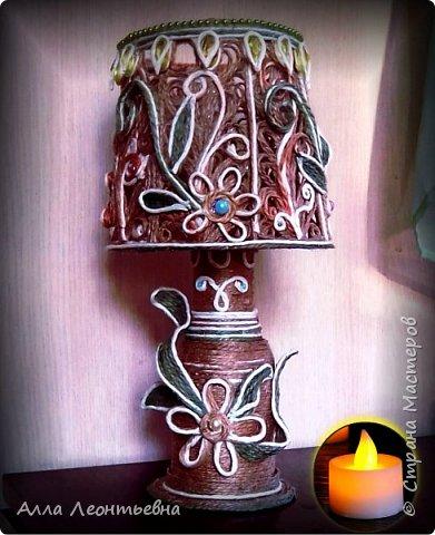 Пока есть время я сделала вот такую декоративную лампу. Если поставить в абажур светодиодную свечу - будет ночник, светильник фото 1