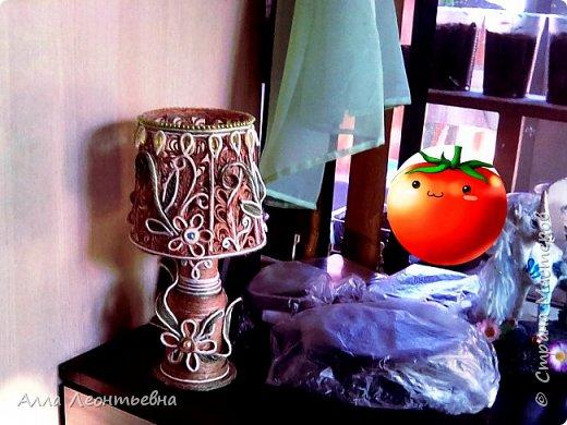 Пока есть время я сделала вот такую декоративную лампу. Если поставить в абажур светодиодную свечу - будет ночник, светильник фото 7
