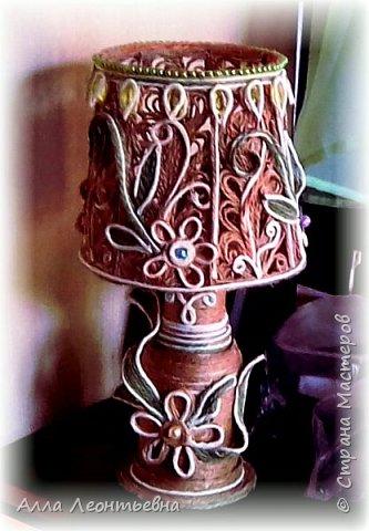 Пока есть время я сделала вот такую декоративную лампу. Если поставить в абажур светодиодную свечу - будет ночник, светильник фото 2