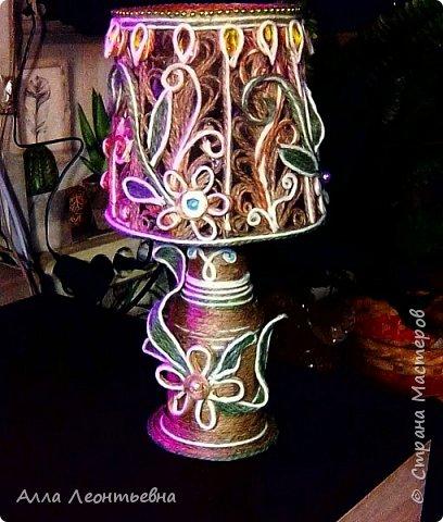 Пока есть время я сделала вот такую декоративную лампу. Если поставить в абажур светодиодную свечу - будет ночник, светильник фото 4