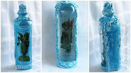 Бутылка для крещенской воды с ангелами. Декупаж.Простой декор. фото 1