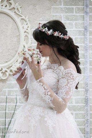 Свадебный букет и венок из фоамирана