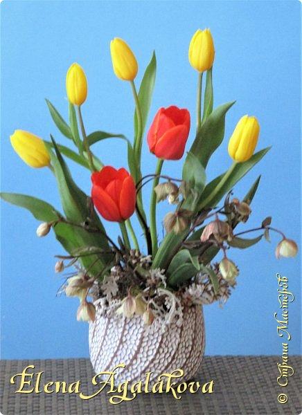 Добрый день! У нас в Калгари в этом году весна вступает в свои права очень медленно... поэтому особенно хочется цветов и красок! Я уже третий год занимаюсь цветочным дизайном. Очень люблю цветы, травки-муравки, деревья и вообще все растения. Очень увлекательно работать с цветами! Дома делаю оранжировки из того что под рукой, беру цветы которые найду, даже полевые и из своего садика. Начали появляться первые цветы в моем садике, чему я очень рада, поэтому в композициях можно увидеть и медуницу и примулы и даже пролески...  разные веточки, травинки... использую в основном цветы из цветочного магазина где работаю. Делюсь красотой!   фото 14