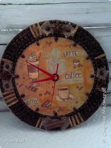 Кофейные часики, Внутри делала декупаж на яичной скорлупе, Циферблат из винной пробки. фото 10