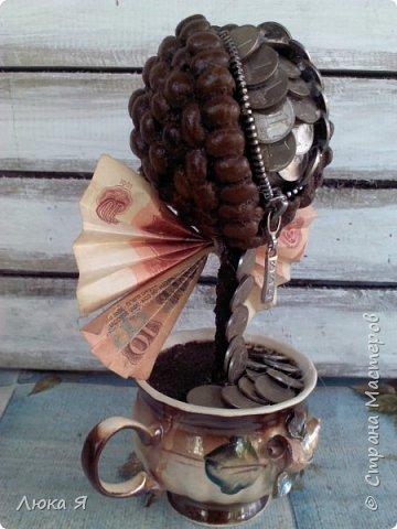 Кофейный кошелек  сделала из монет по 1 коп., бумажных денег, фото 2