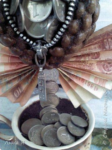 Кофейный кошелек  сделала из монет по 1 коп., бумажных денег, фото 4