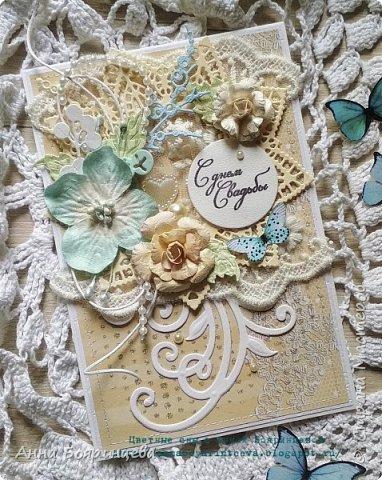 Всем привет!!!! Вот и дошла очередь показать третью свадебную открытку. Как и писала, композиция одна и та же, только её расположение разное, на этой на верху. Размер 15,5 * 10,5 см. потому что такой обрезок бумаги был. фото 1