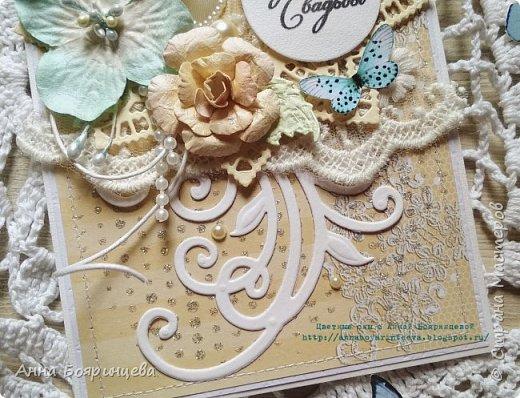 Всем привет!!!! Вот и дошла очередь показать третью свадебную открытку. Как и писала, композиция одна и та же, только её расположение разное, на этой на верху. Размер 15,5 * 10,5 см. потому что такой обрезок бумаги был. фото 3