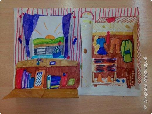 Рисунок с открывающимися дверками очень интересен в творчестве детям. Он позволяет проявить воображение и вкусовые дизайнерские особенности. Для работы необходимы: Бумага, Клей, Ножницы, Карандаши, Фломастеры. фото 8
