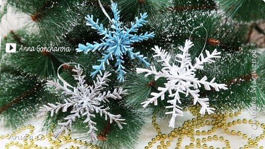 Новогодний декор из фоамирана Снежинки