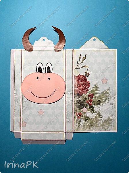 Всем добрый день! Приближается Новый 2021 год - год Быка. Конечно мы к нему всегда готовимся заранее - делаем подарки родным, близким, друзьям. Многие любят дарить друзьям шоколад в упаковке, сделанной своими руками.  Мне пришла идея сделать эту упаковку с символом этого года - Бычком. Посмотрите, что получилось. Мастер-класс для Вас! фото 10