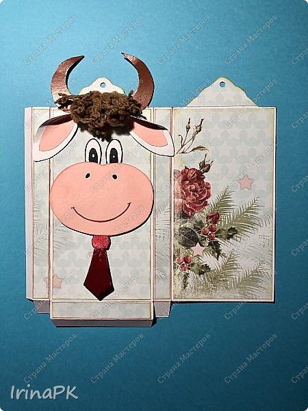Всем добрый день! Приближается Новый 2021 год - год Быка. Конечно мы к нему всегда готовимся заранее - делаем подарки родным, близким, друзьям. Многие любят дарить друзьям шоколад в упаковке, сделанной своими руками.  Мне пришла идея сделать эту упаковку с символом этого года - Бычком. Посмотрите, что получилось. Мастер-класс для Вас! фото 11