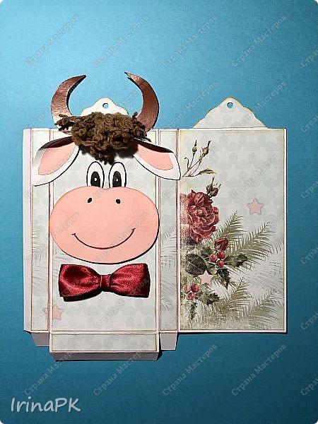 Всем добрый день! Приближается Новый 2021 год - год Быка. Конечно мы к нему всегда готовимся заранее - делаем подарки родным, близким, друзьям. Многие любят дарить друзьям шоколад в упаковке, сделанной своими руками.  Мне пришла идея сделать эту упаковку с символом этого года - Бычком. Посмотрите, что получилось. Мастер-класс для Вас! фото 12