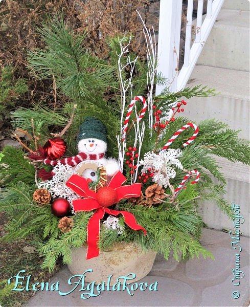 Добрый день! С наступающим Новым годом и Рождеством!  Сегодня я к вам снова с композициями из живых цветов, на этот раз новогодними. фото 8