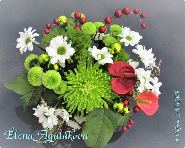 Добрый день! С наступающим Новым годом и Рождеством!  Сегодня я к вам снова с композициями из живых цветов, на этот раз новогодними. фото 4
