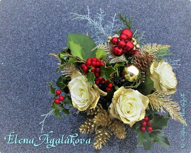 Добрый день! С наступающим Новым годом и Рождеством!  Сегодня я к вам снова с композициями из живых цветов, на этот раз новогодними. фото 5