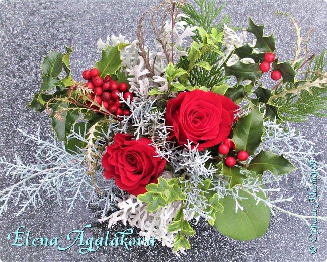 Добрый день! С наступающим Новым годом и Рождеством!  Сегодня я к вам снова с композициями из живых цветов, на этот раз новогодними. фото 11