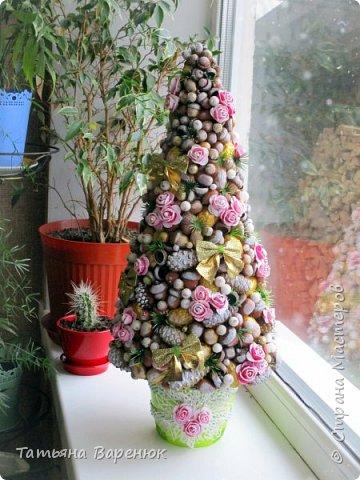 Мы говорим, что праздники украшают нашу жизнь.  На самом деле, нашу жизнь мы украшаем сами, благодаря праздникам.🎄✨❄  Моя вторая елочка из природного материала Хотелось передать мое нежно-романтичное настроение...=) фото 1