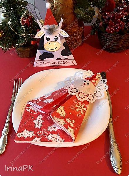 Новый год для многих из нас, пожалуй, самый волнительный и желанный праздник. Это праздник, к которому мы готовимся заранее и ждем с нетерпением. Каждый год он заставляет нас вновь поверить в сказку. Предлагаю Вам сделать индивидуальные поздравительные карточки, обычно их используют на свадьбах для рассадки приглашенных, но у нас они будут треугольные и в виде Бычка – символа наступающего 2021 года. Это могут быть личные пожелания для каждого члена вашей семьи индивидуально, которые будут приятны каждому. Эти поздравления можно расставить на столе, а можно повесить на елку, сделать именными и пусть каждый отыщет свое.  фото 42