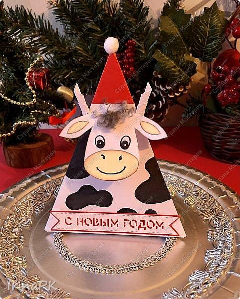 Новый год для многих из нас, пожалуй, самый волнительный и желанный праздник. Это праздник, к которому мы готовимся заранее и ждем с нетерпением. Каждый год он заставляет нас вновь поверить в сказку. Предлагаю Вам сделать индивидуальные поздравительные карточки, обычно их используют на свадьбах для рассадки приглашенных, но у нас они будут треугольные и в виде Бычка – символа наступающего 2021 года. Это могут быть личные пожелания для каждого члена вашей семьи индивидуально, которые будут приятны каждому. Эти поздравления можно расставить на столе, а можно повесить на елку, сделать именными и пусть каждый отыщет свое.  фото 32