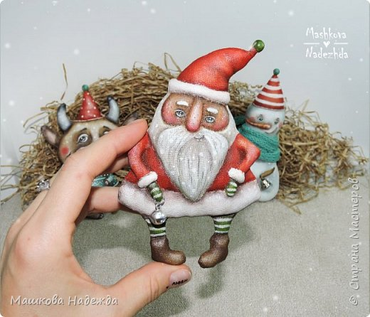 Всем привет!  Хоть Новый год и закончился, все равно покажу вам наборы елочных игрушек ручной работы. Сегодня это компания из Бычка, Деда Мороза и Снеговика. фото 11