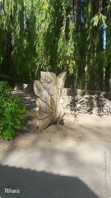 Добрый день, дорогие соседи! У меня ещё небольшая порция фото из Черкасского зоопарка (Украина). 1 часть о зоопарке тут https://stranamasterov.ru/node/1170753  2 часть тут https://stranamasterov.ru/node/1170809  это если кому будет интересно. А эта часть совсем маленькая. Большей частью и не о зверушках. Как я уже писала раньше, по всей территории зоопарка стоят вот такие деревянные скульптуры. Органично так  всё смотрится и видится! Эта скульптурка стоит на краю дорожки.  фото 8
