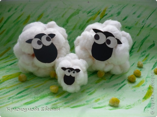 Вот такие замечательные барашки, а точнее барашка и овечка получились у меня из ваты))) фото 2