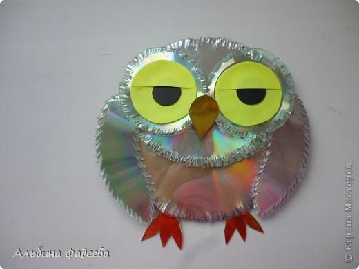 Поделки из дисков фото сова
