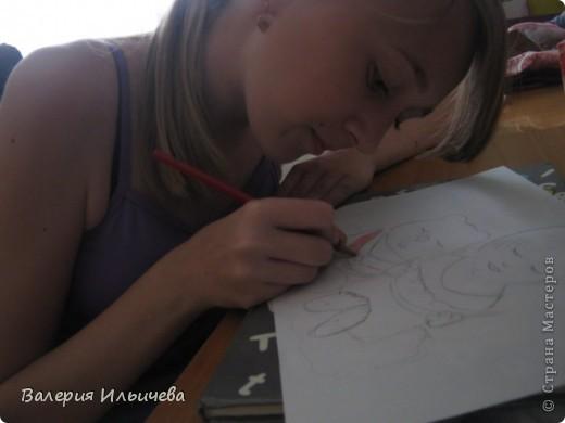 Это девочка и медвежонок сидящие на облаке кушая арбузы. фото 2
